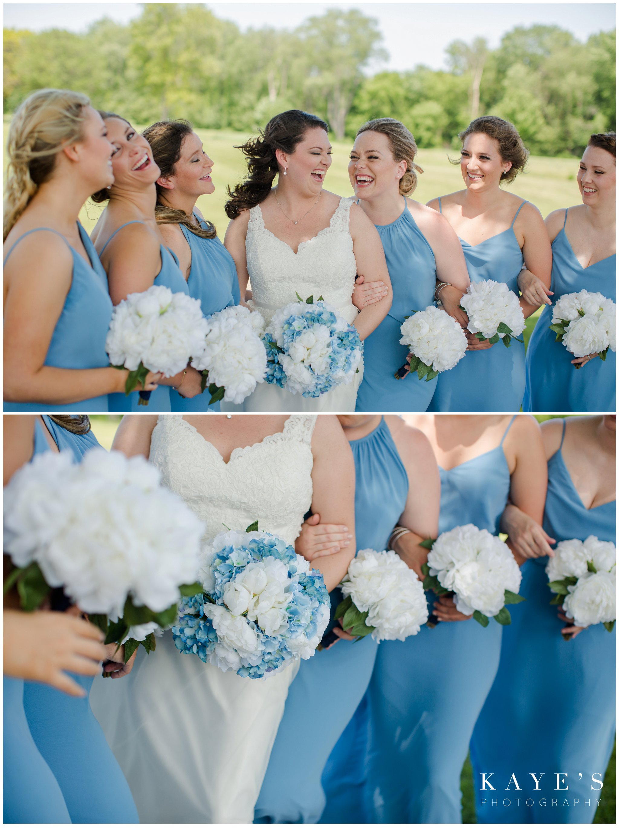 close up of bride with bridemaids and blue and white flowers at fox hill golf club wedding