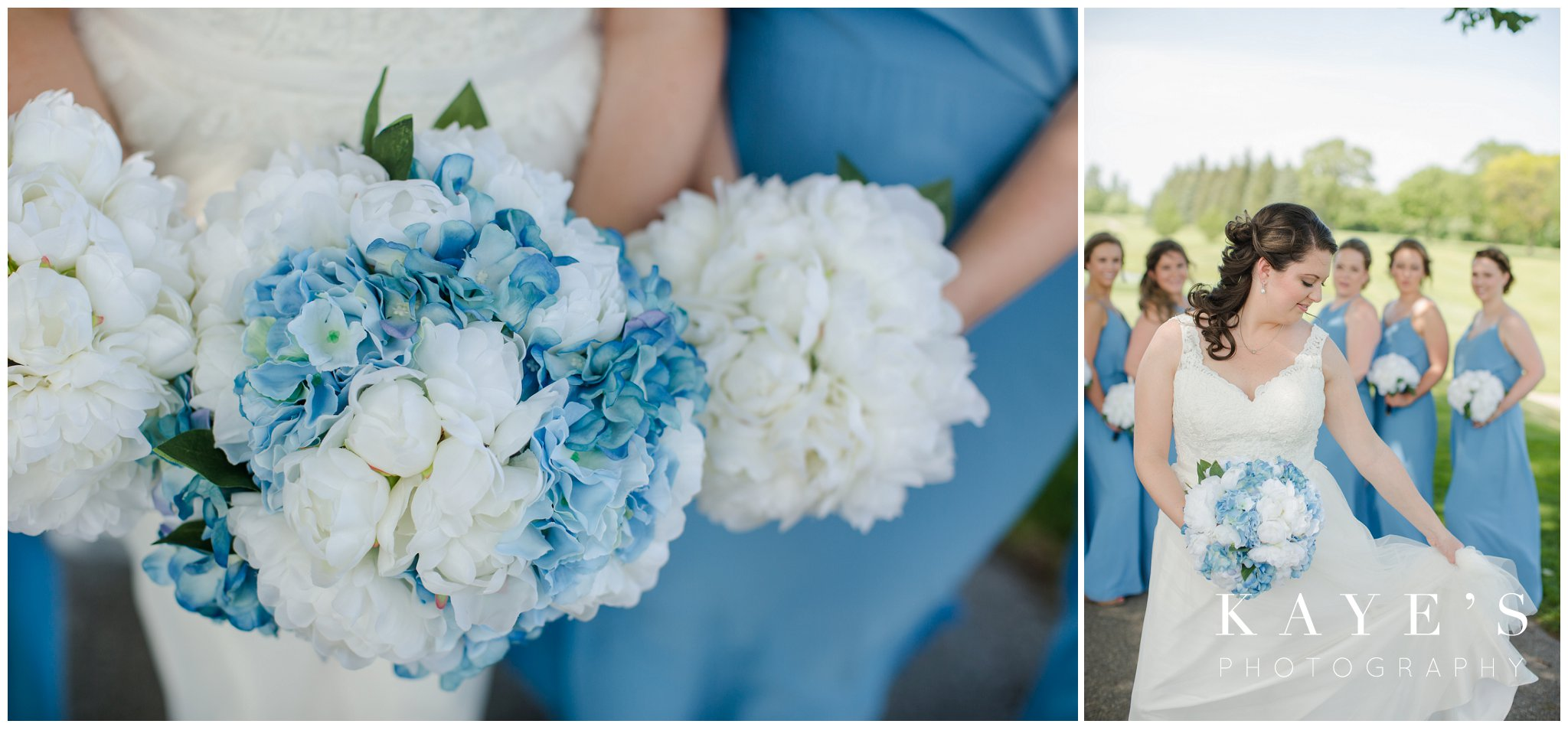 bride blue and white flowers and bouquets in wedding photos