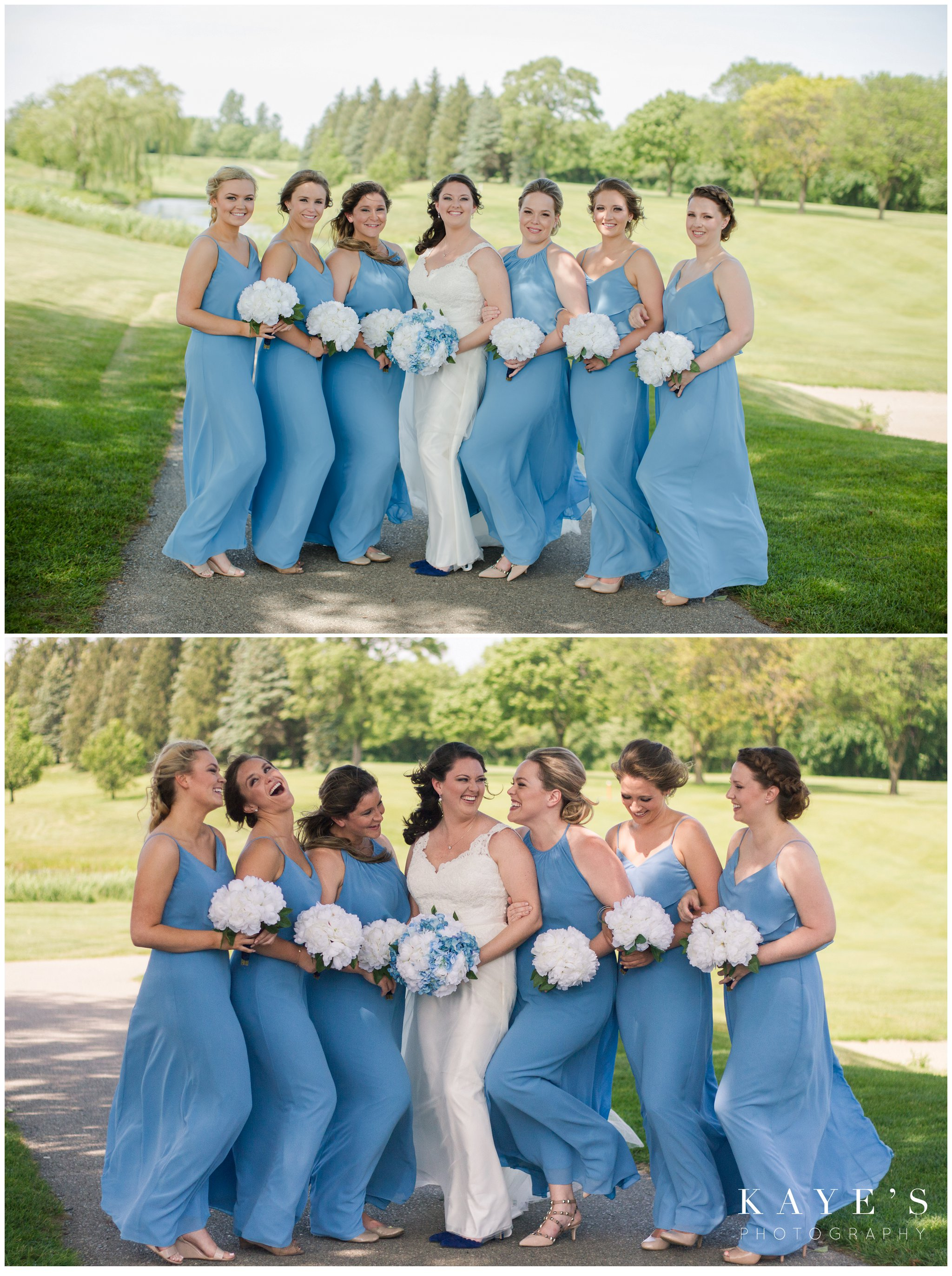 bridesmaids with bride at fox hill golf club in plymouth michigan