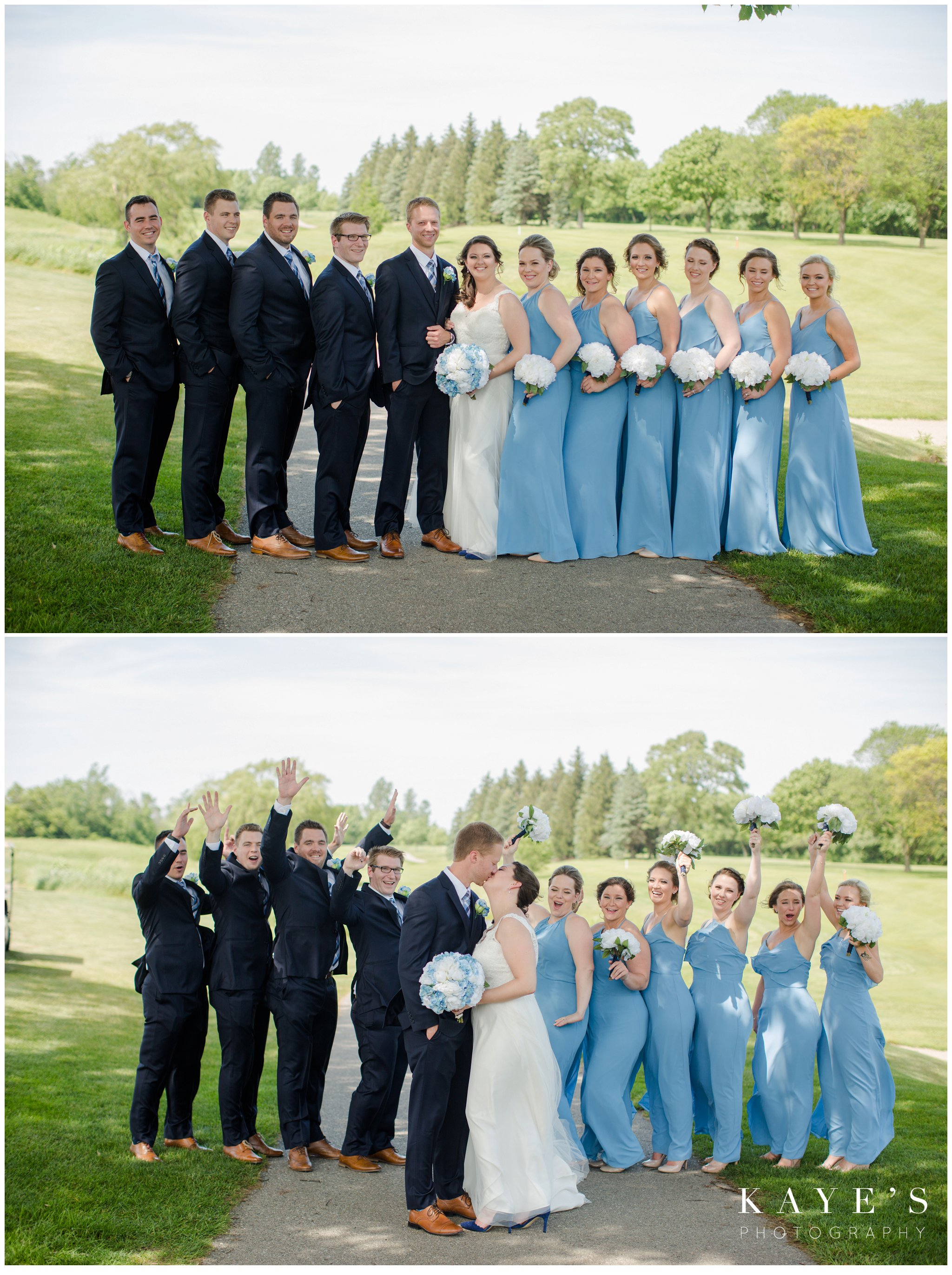 bridal party in light blue and navy at fox hill golf club in plymouth michigan