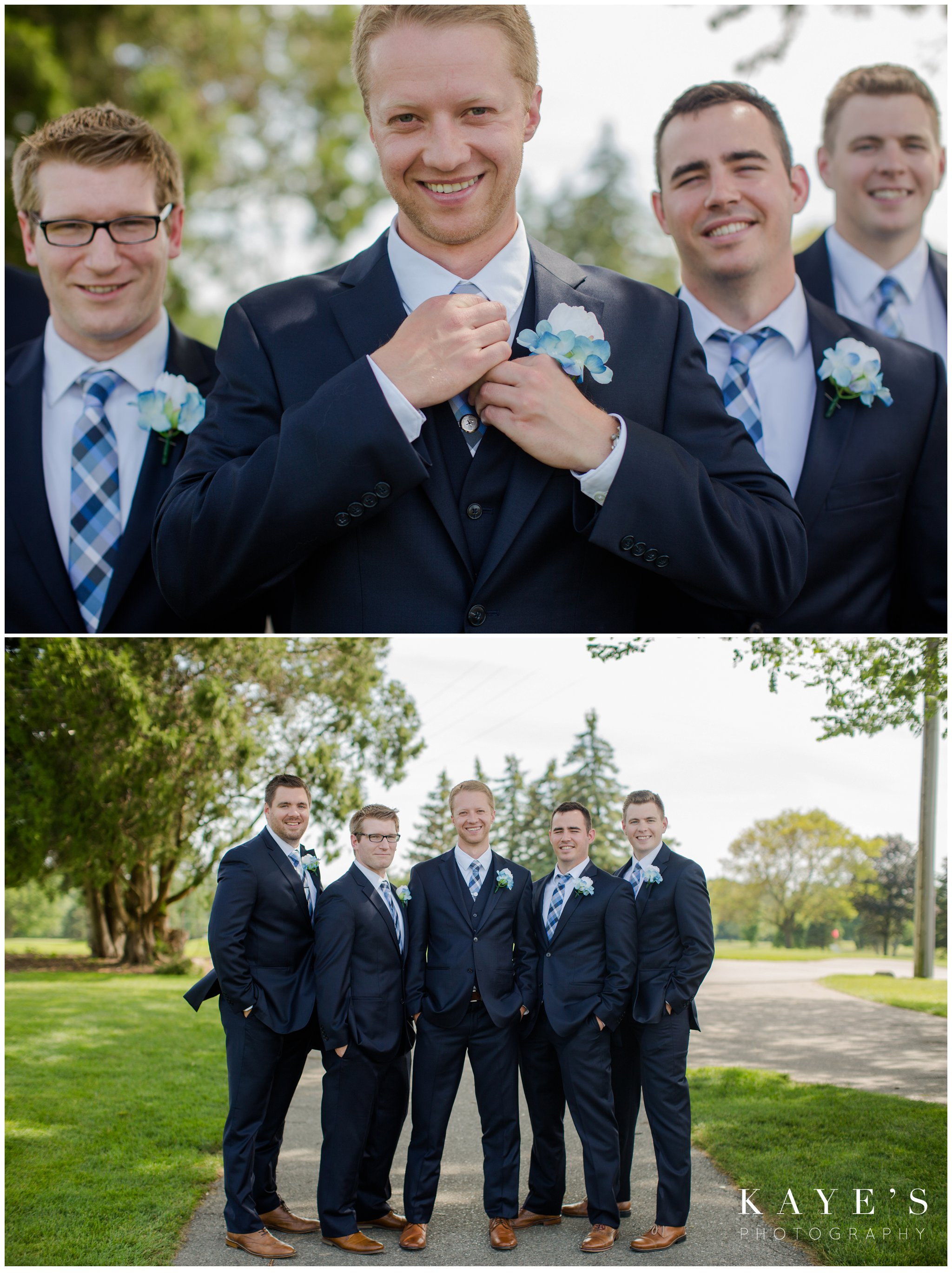 close ups of groom and groomsmen during wedding portraits at golf course wedding