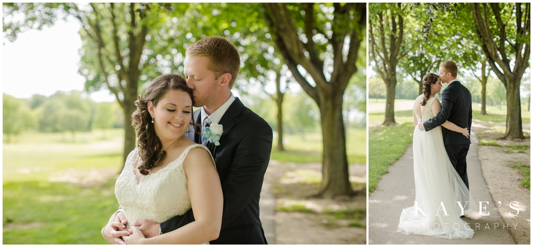bride and groom loving on each other during wedding portraits at fox hill golf club