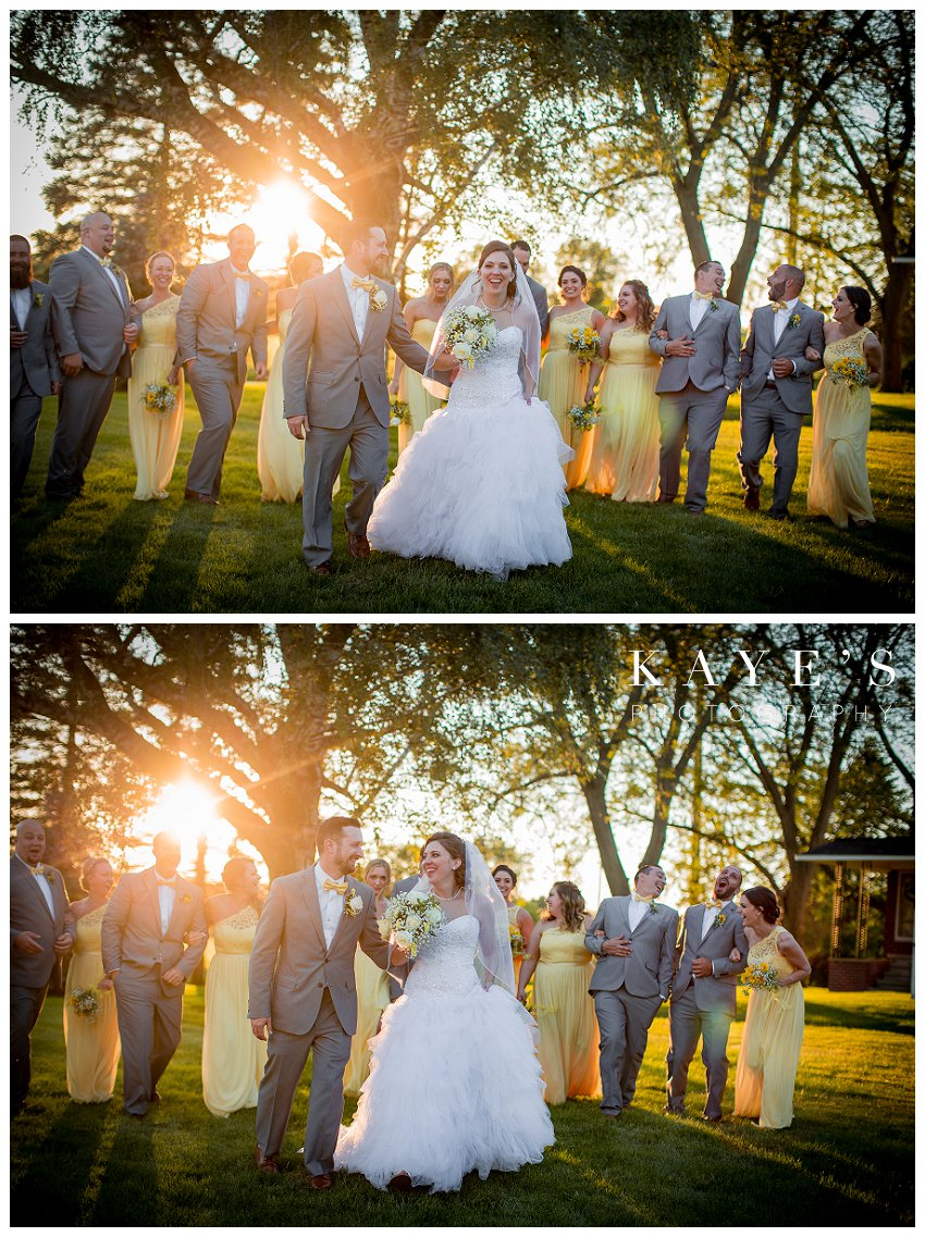 bridal party pictures in yellow and grey at sunset
