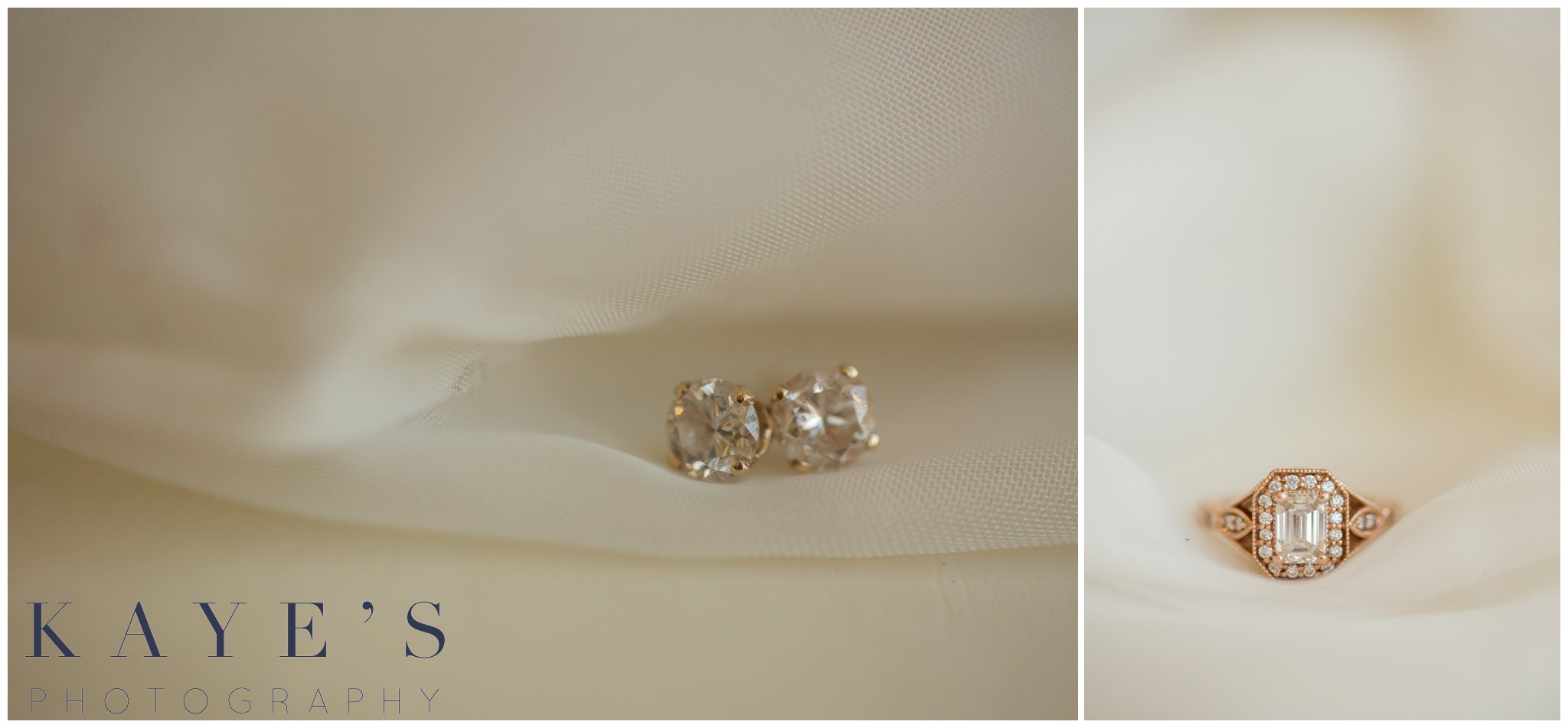 wedding ring and earrings for bride