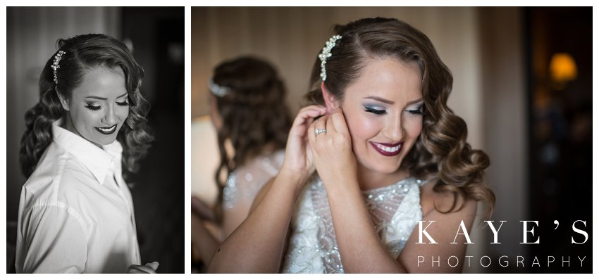 bride getting ready on the day of wedding photography in lapeer michigan