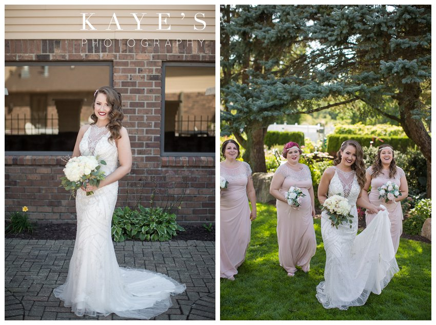 bride with bridesmaids walking candid portraits on wedding day in lapeer michigan