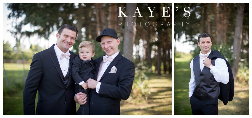 groom with best man and ring bearer in lapeer michigan wedding photography
