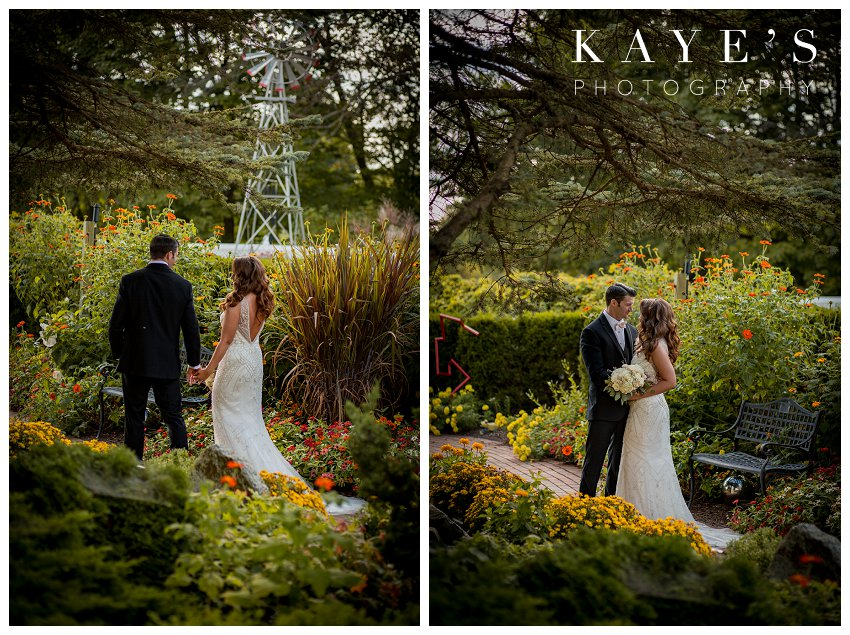 Bride and groom during wedding day portraits in lapeer gardens in michigan