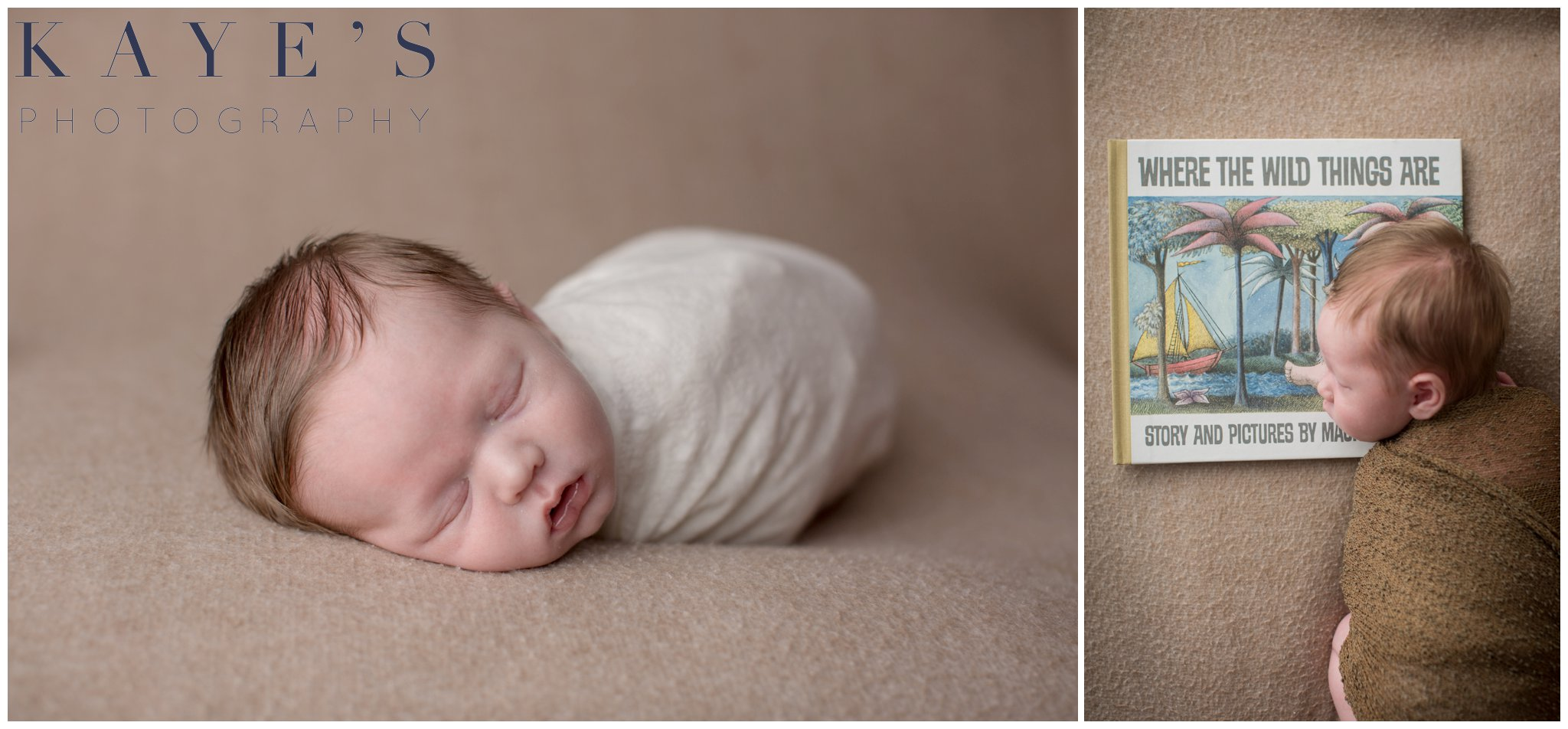 Baby boy on tan blanket wrapped laying on book sleeping