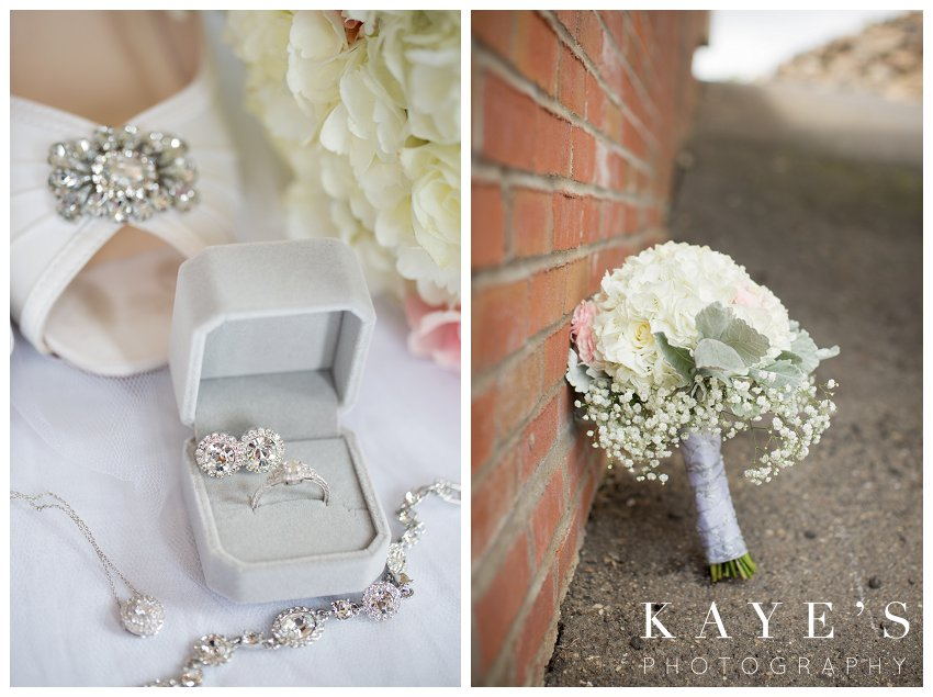 Brides jewelry and flowers on wedding day at captain club wedding in grand blanc michigan