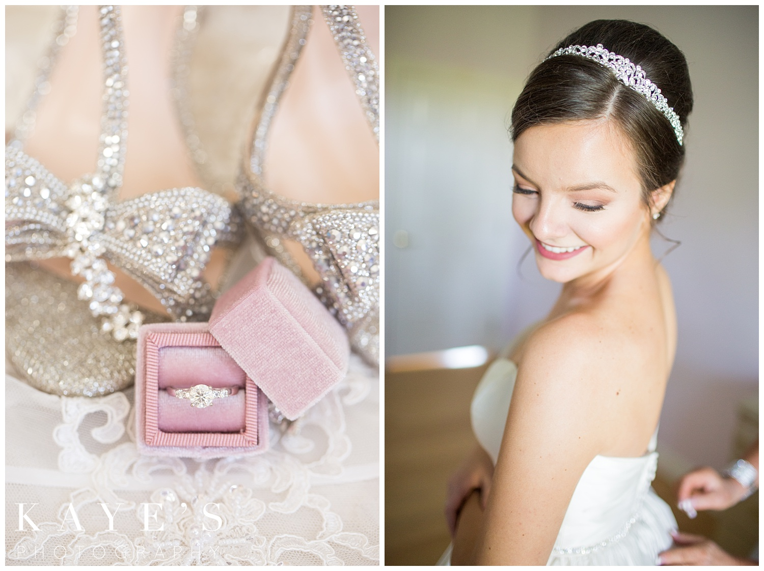 vintage ring box with engagement ring before wedding day at palazzo grand
