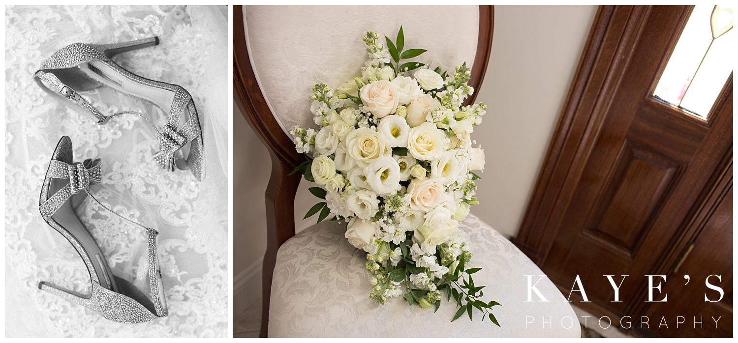 wedding day bridal shoes and bouquet in fall michigan wedding by kayes photography