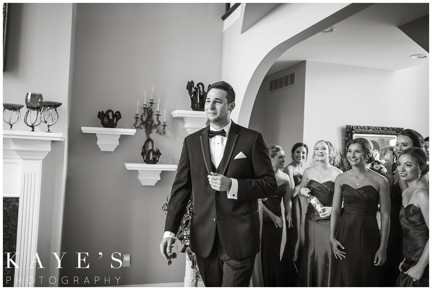 first look at his bride on polish wedding day during palazzo wedding by kayes photography