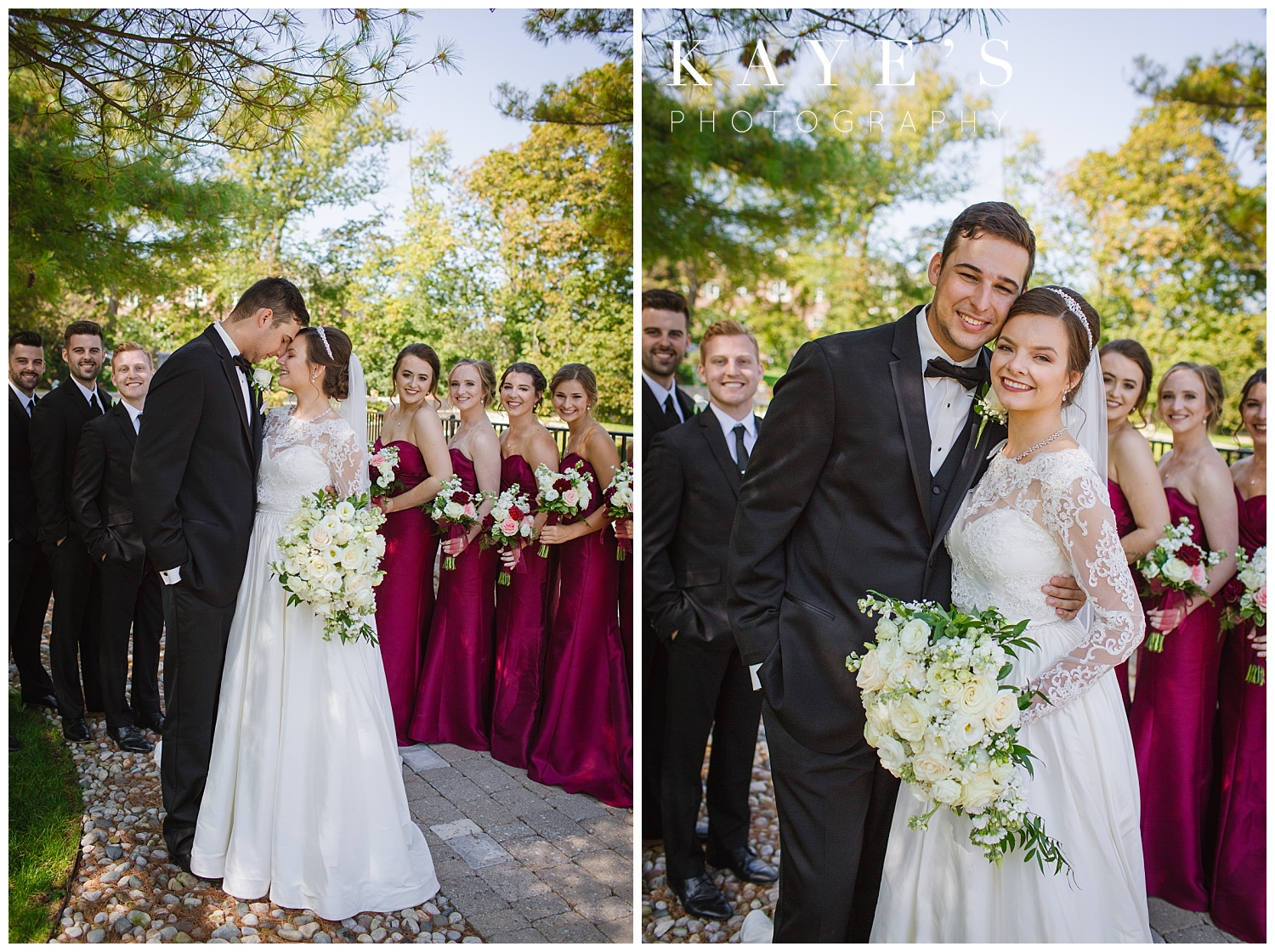 bridal party outside st. hugo posing with bride and groom with kayes photography