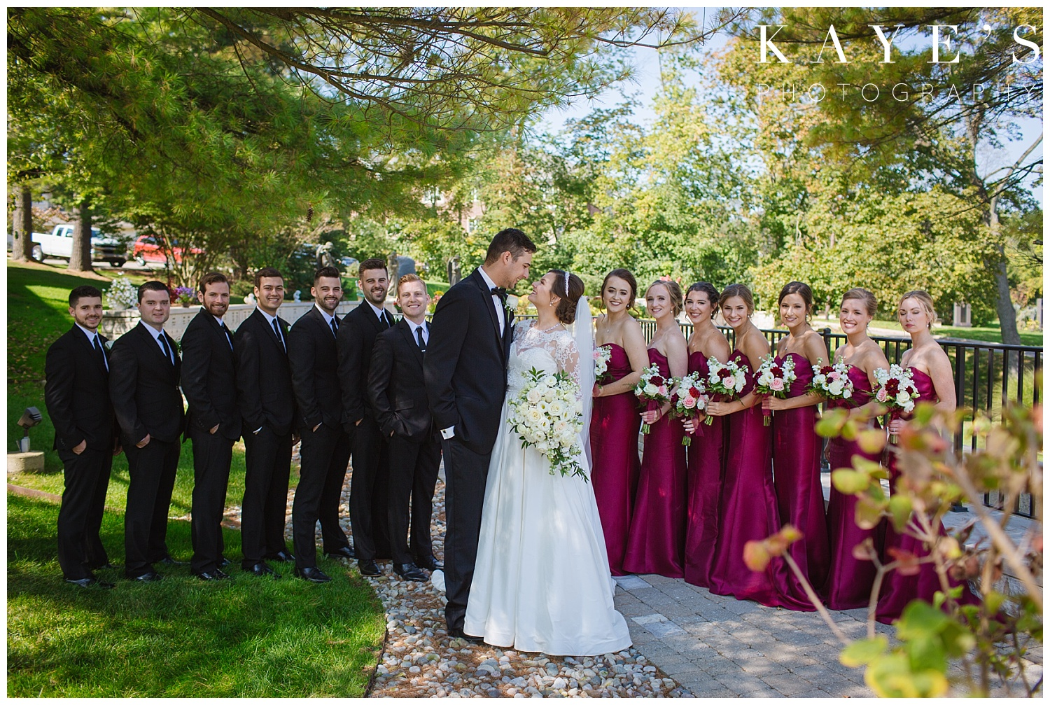 bridal party outside of St. Hugo in detroit michigan for wedding
