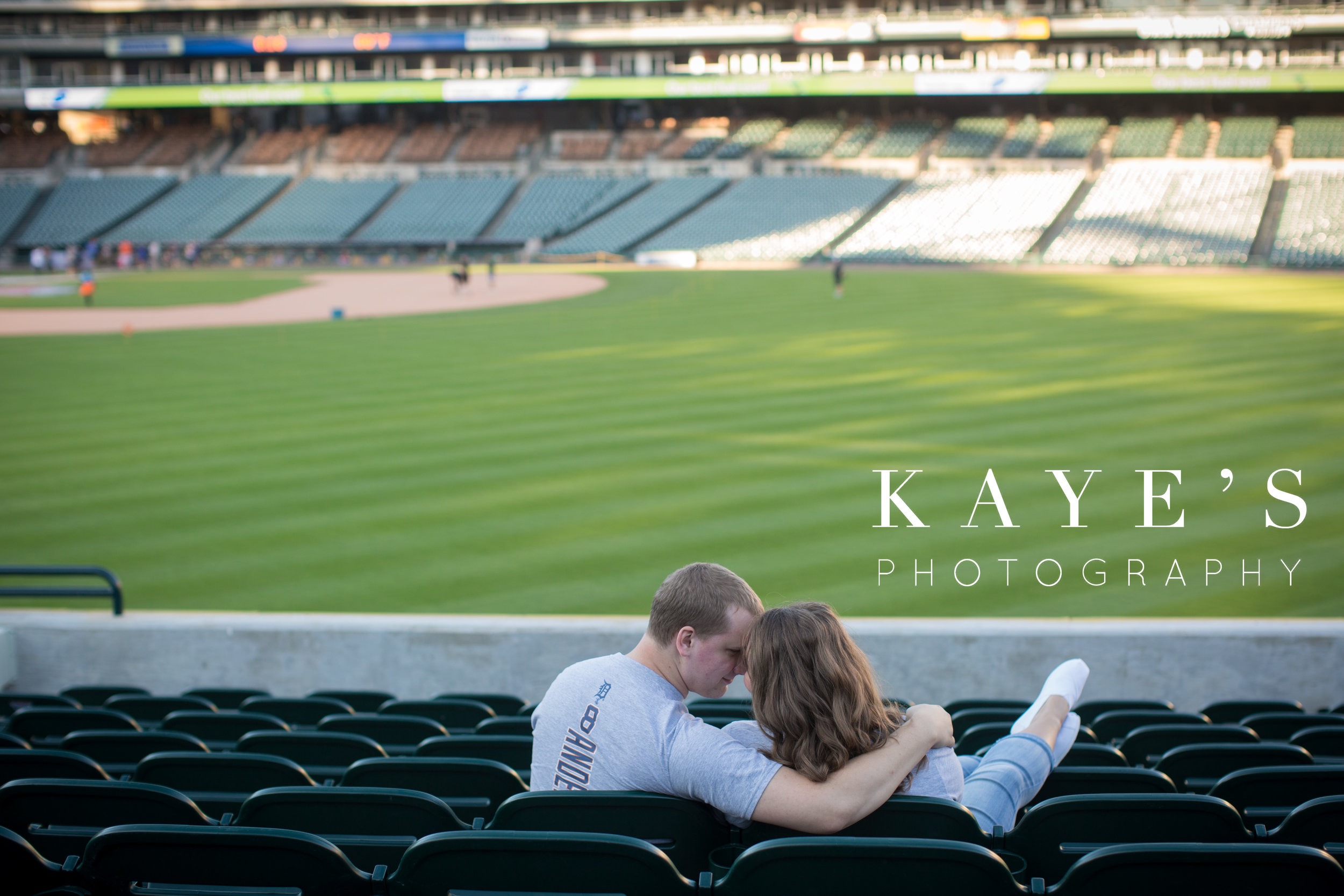 engagement session in the detroit tiger's stadium with kayes photography