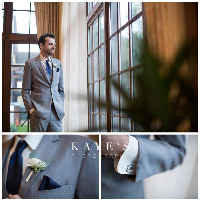 groom waiting for bride and groom details at royal park hotel in rochester michigan