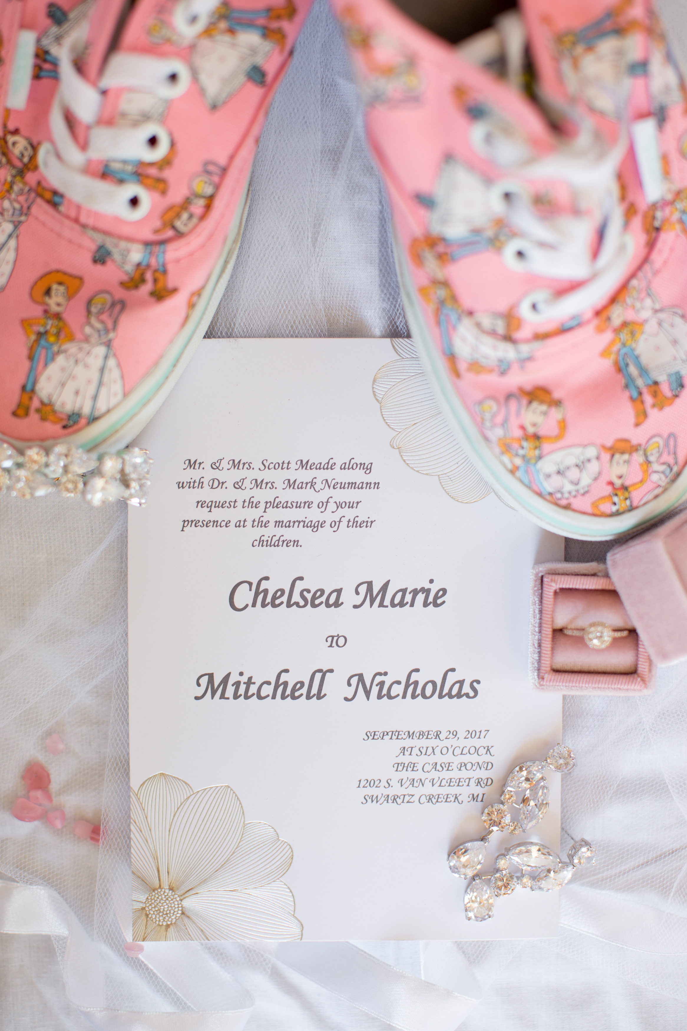wedding day details with custom made Disney converse shoes