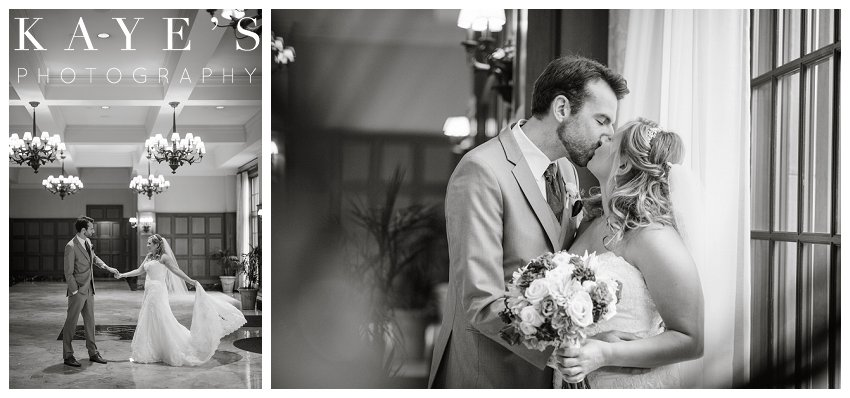 bride and groom during their first look at royal park hotel wedding