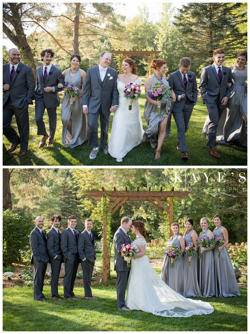 bride and groom with bridal party during wedding in Rochester Michigan