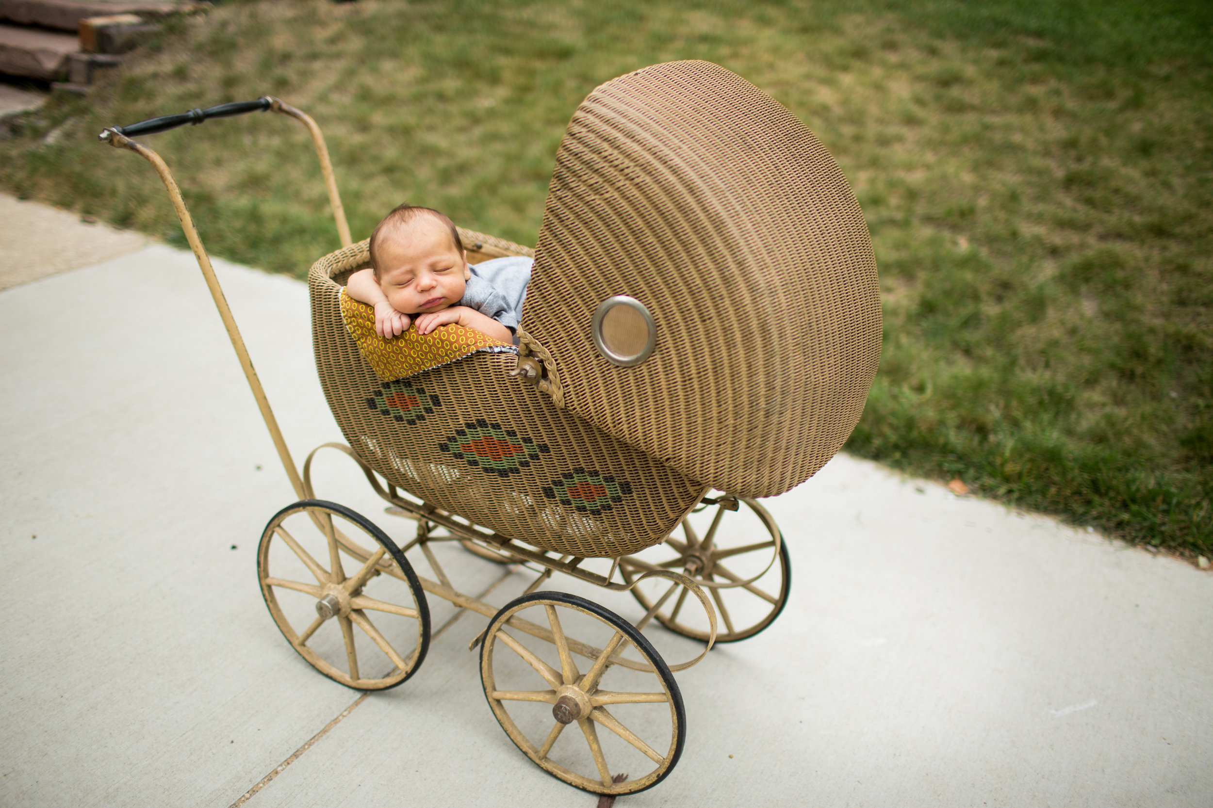 newborn baby boy in vintage stroller during baby pictures in grand rapids michigan