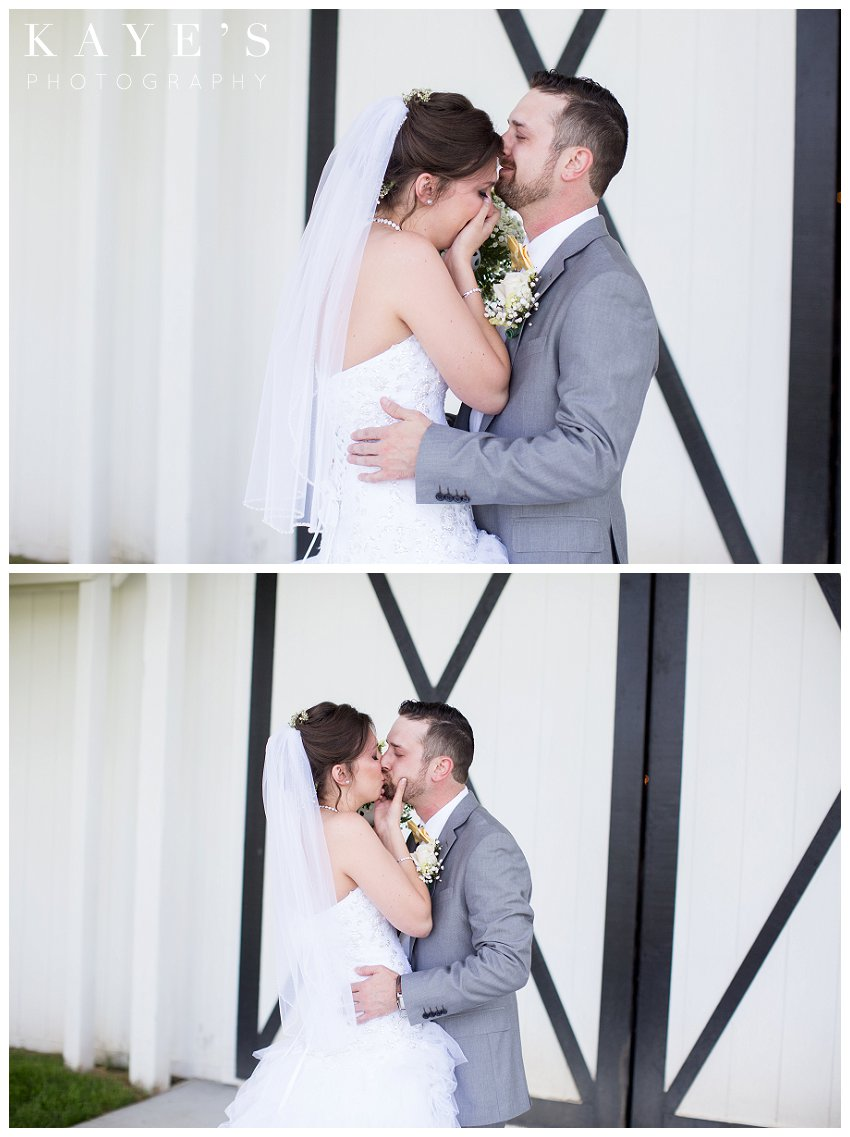 Bride and groom seeing each other for the first time on wedding day for wedding photos