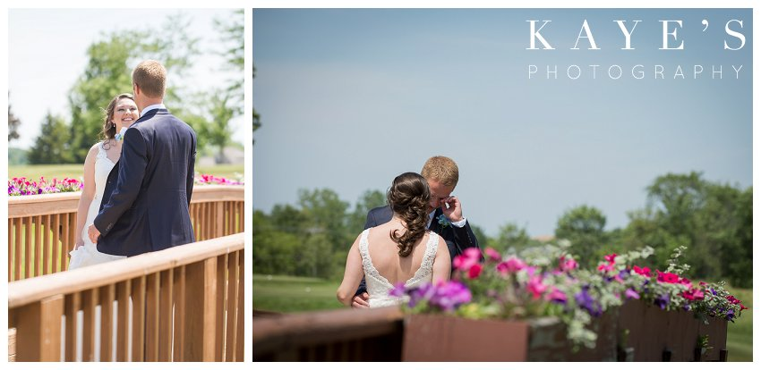Bride and groom during their first look for wedding pictures in detriot