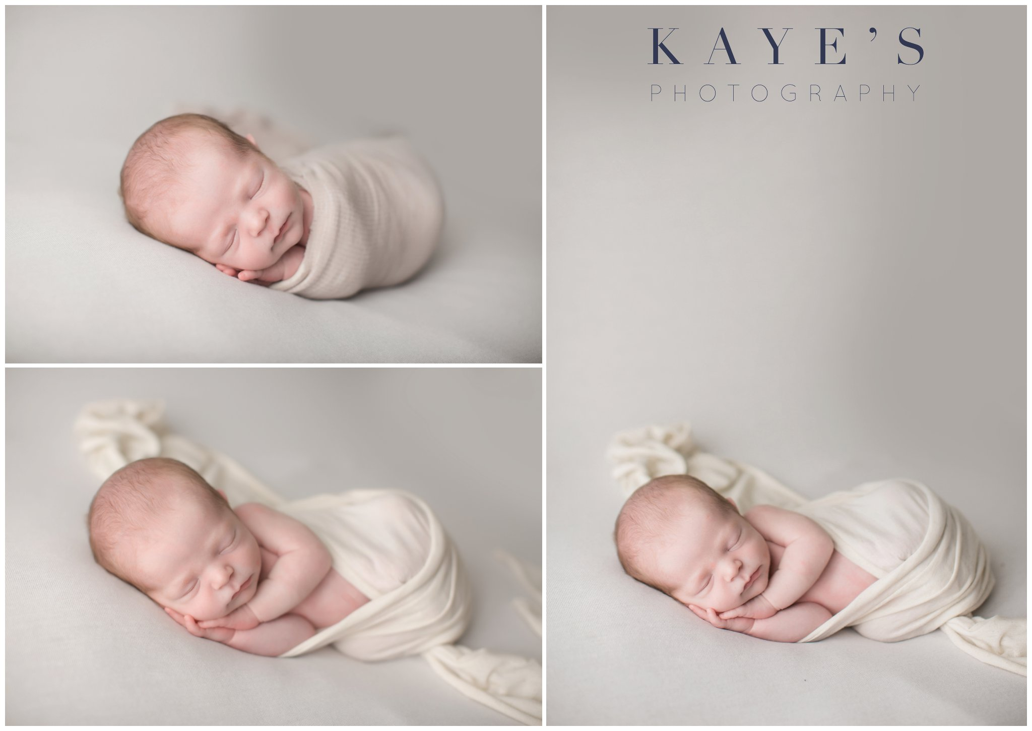 baby boy wrapped in blanket posing for newborn professional photos