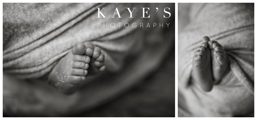 Newborn baby feet during professional baby pictures