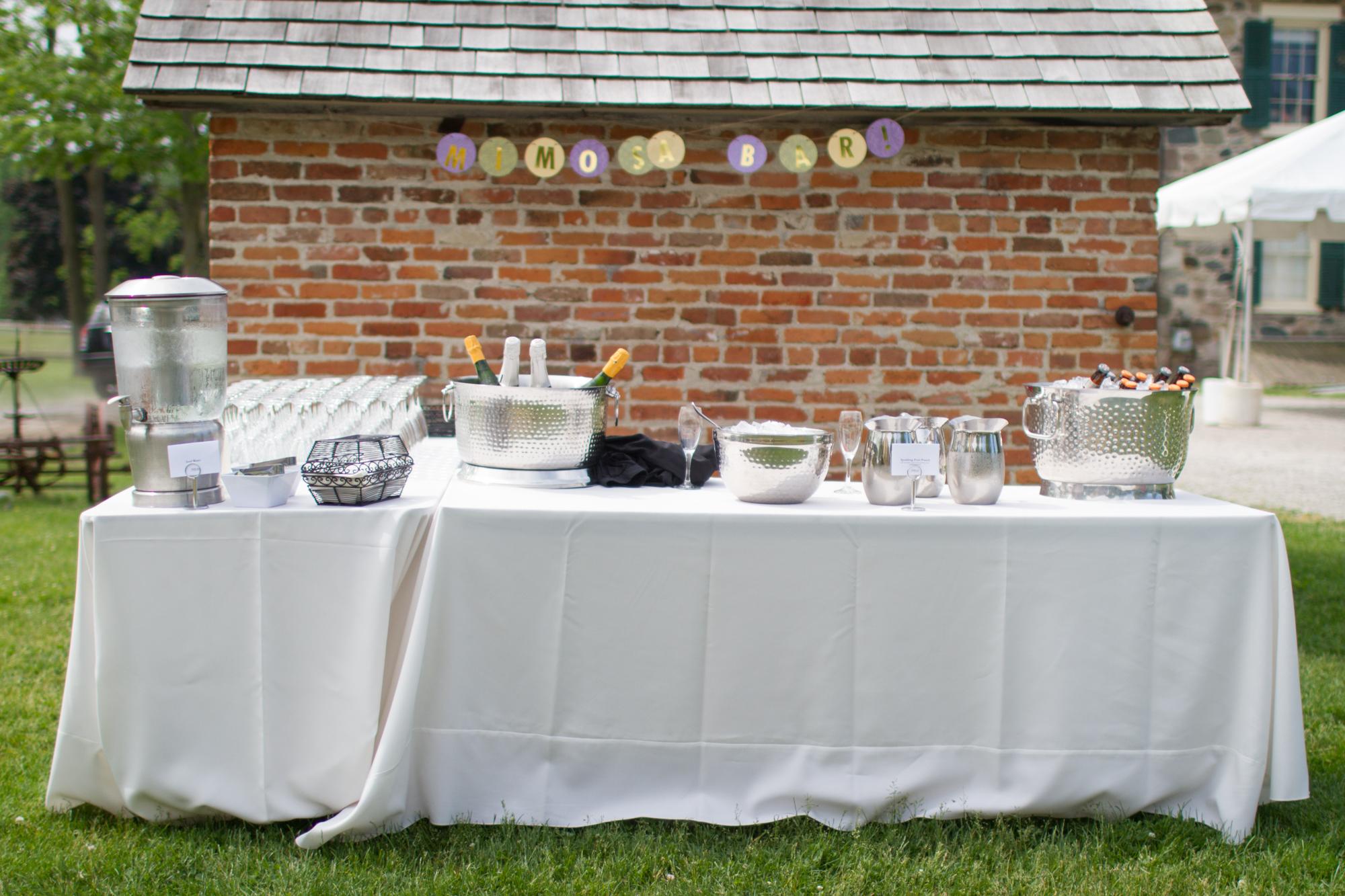 Mimosa bar at a Sunday afternoon wedding