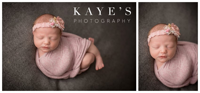 newborn girl on grey blanket during professional baby pictures