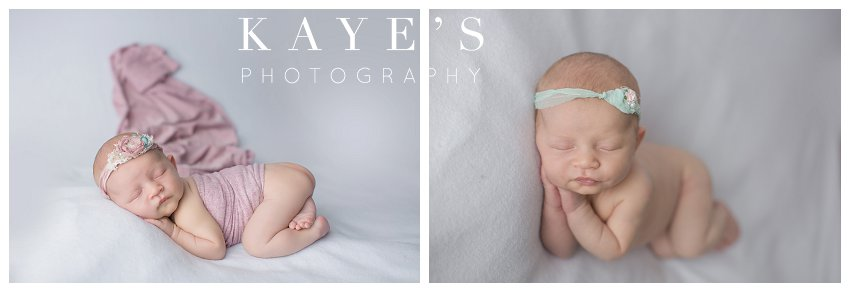 newborn girl posing during baby pictures