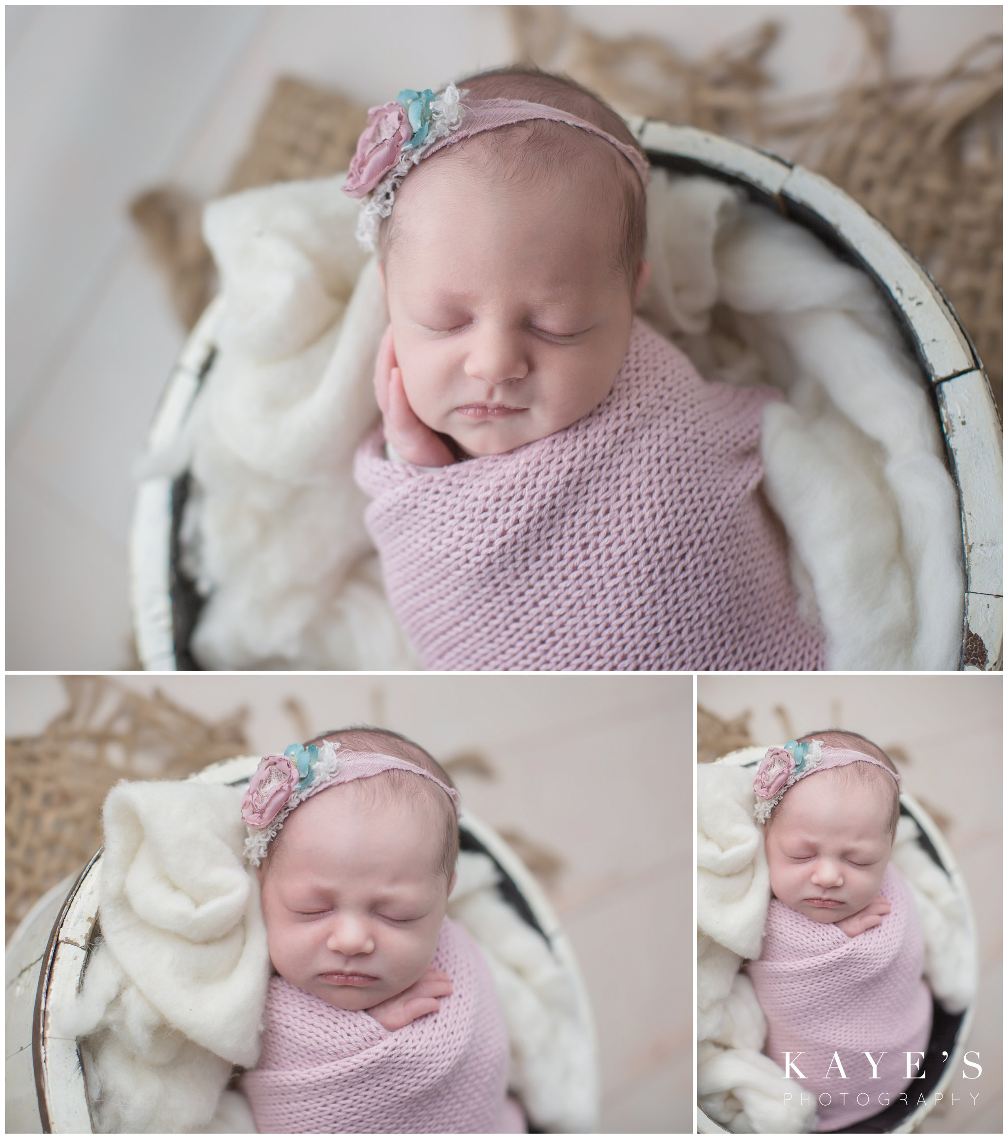 newborn girl in pink posing for baby photos