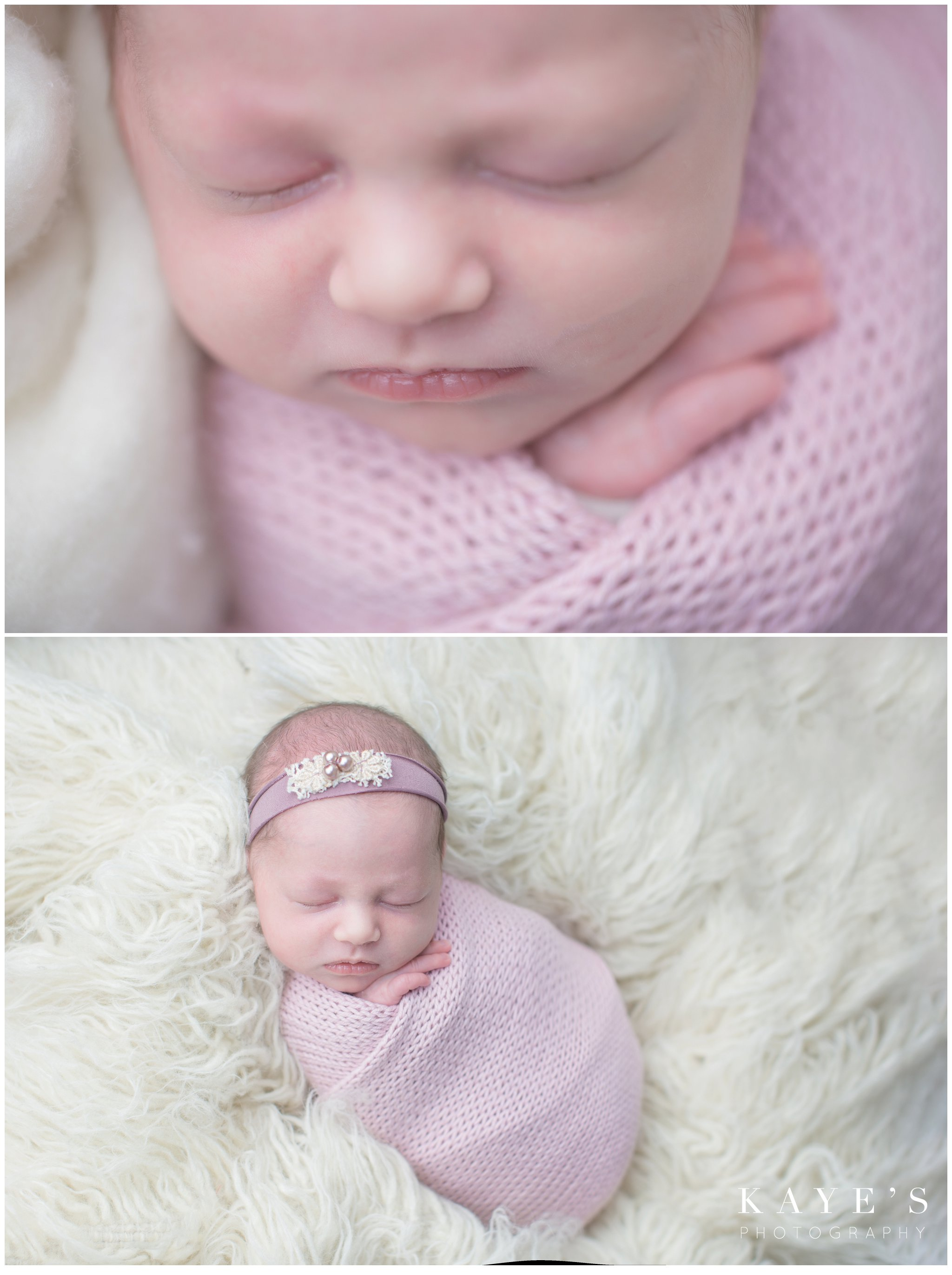 newborn girl in pink posing for baby photos on white rug