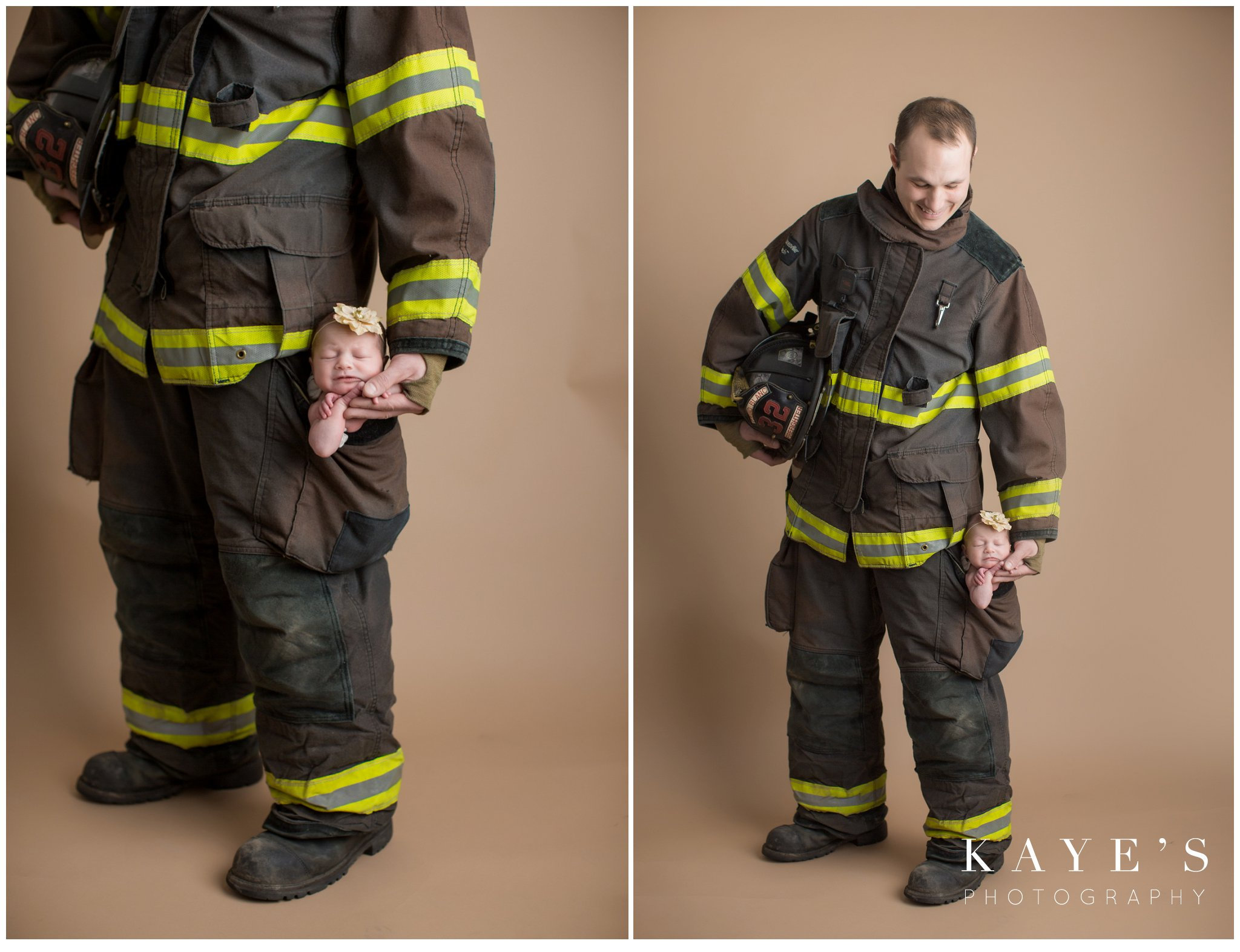 Daddy in fireman gear with newborn baby girl in his pocket during baby photos