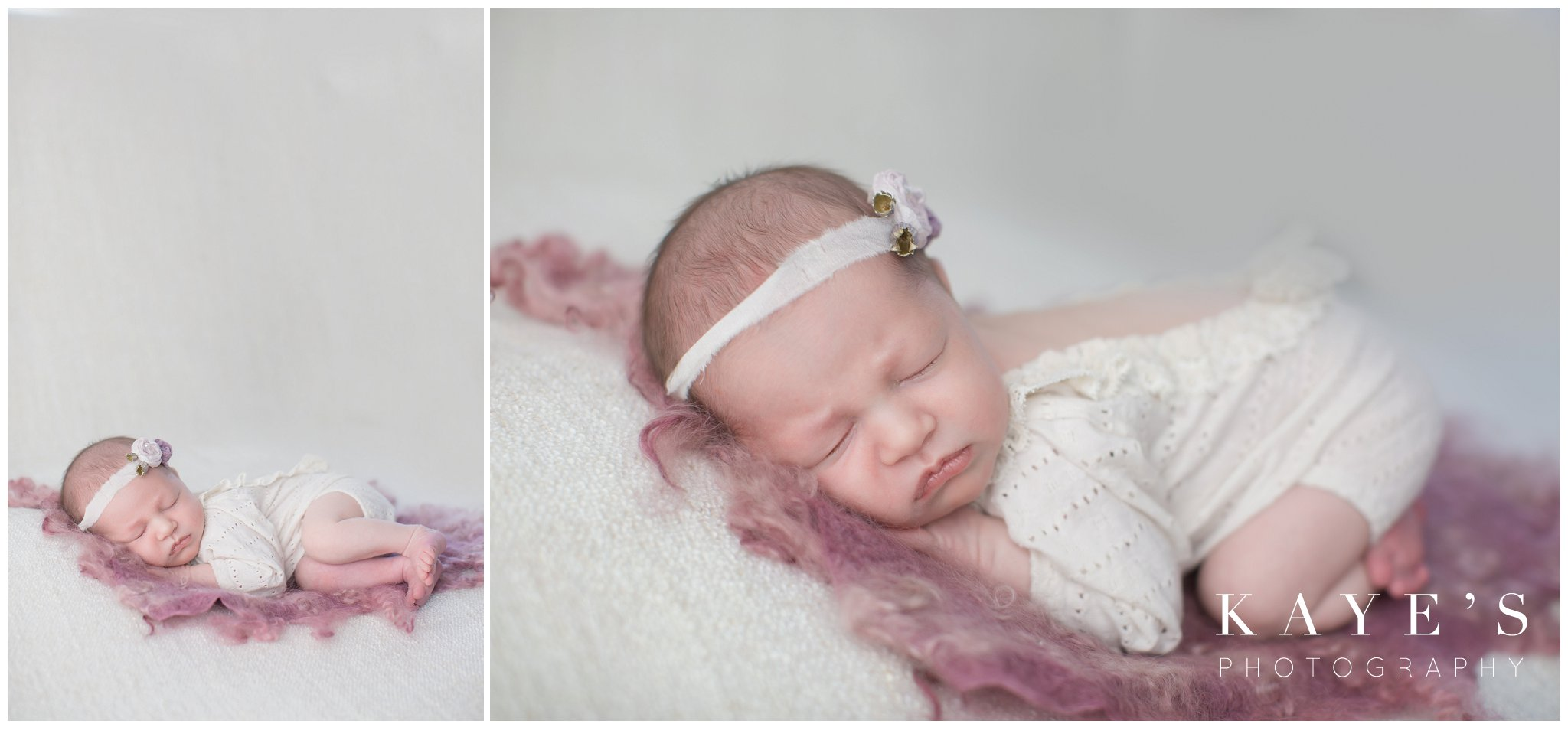 newborn girl on pink rug posing for baby pictures
