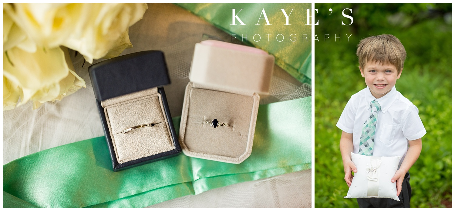 ring details and ring bearer for same sex wedding at Spring meadows in Linden Michigan