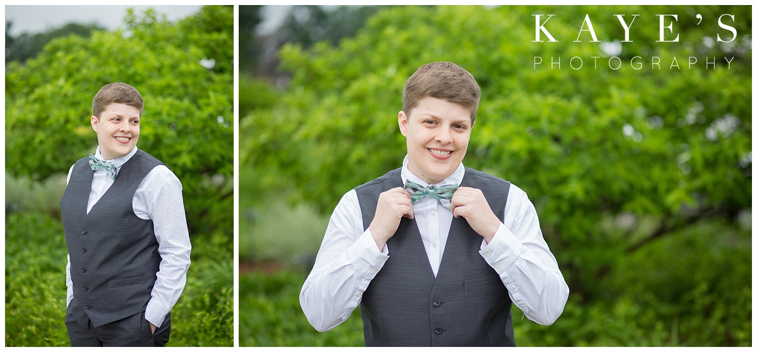 bride with vest and bowtie in a same sex wedding getting married at spring meadows golf course