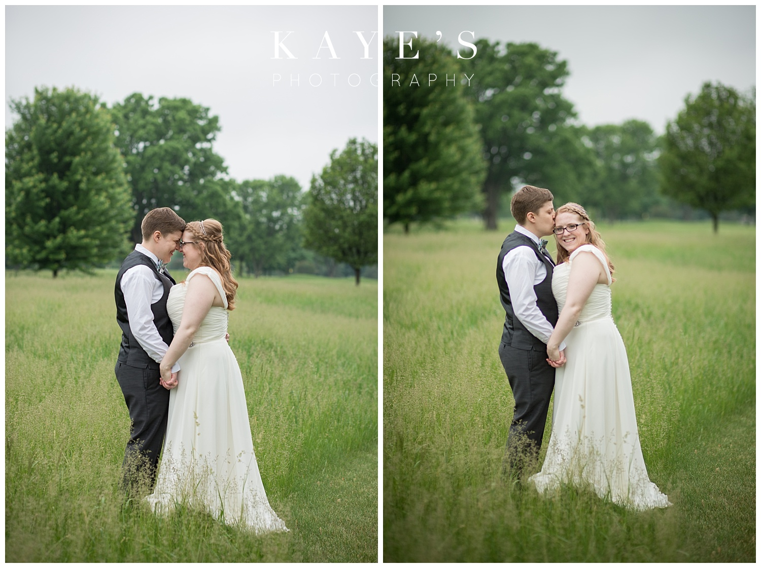 two brides at same sex wedding in linden michigan by kayes photography