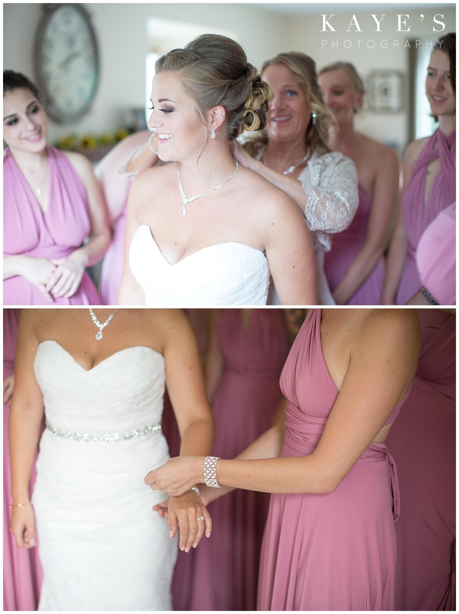 Bride getting ready for wedding in Flint Michigan at crossroads village!!