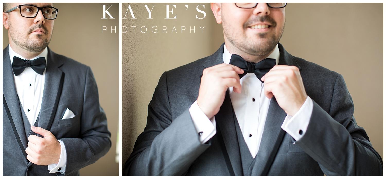 Handsome groom getting ready for wedding in Flint Michigan!!