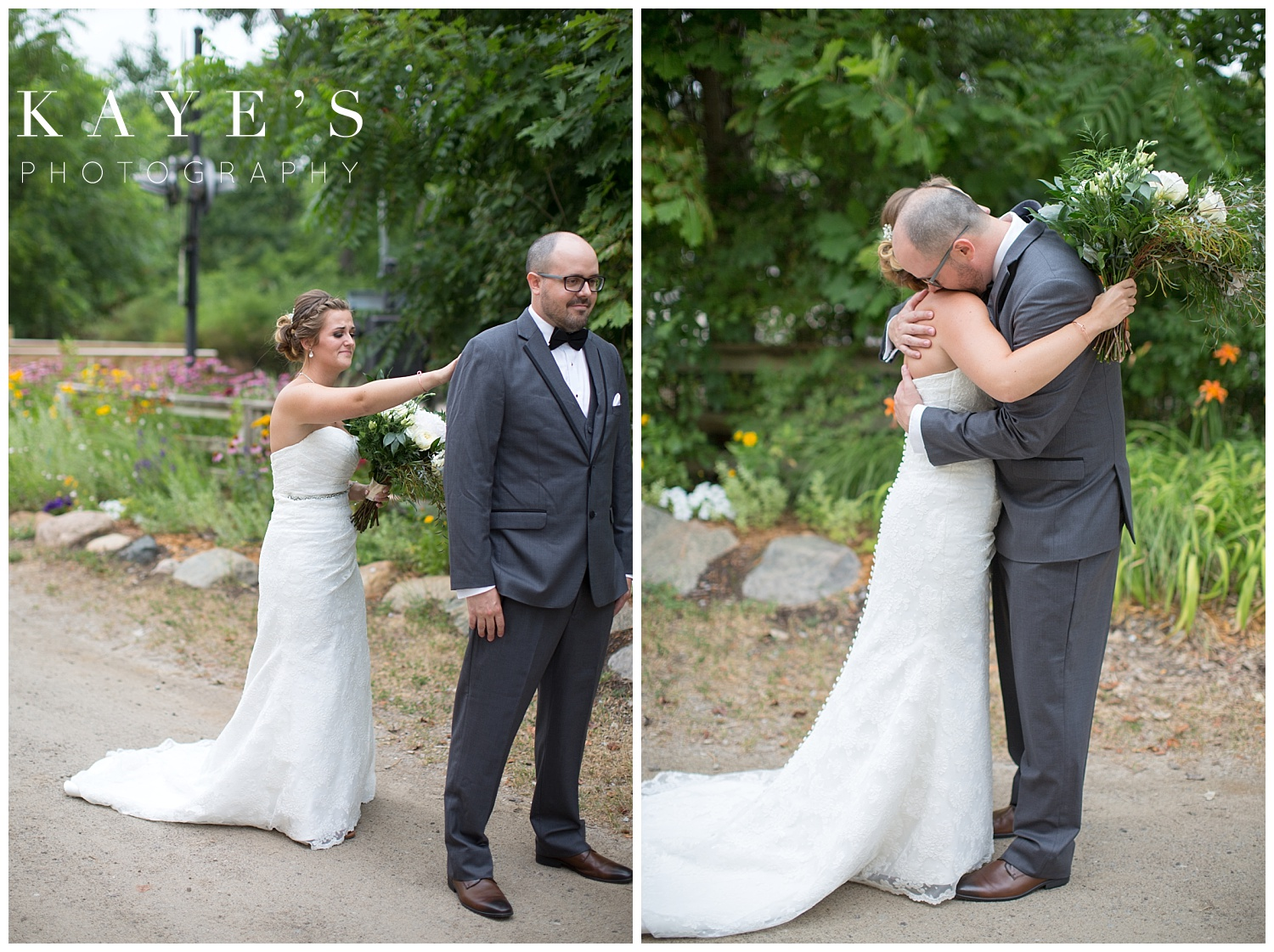 Bride and groom during first look in Flint Michigan
