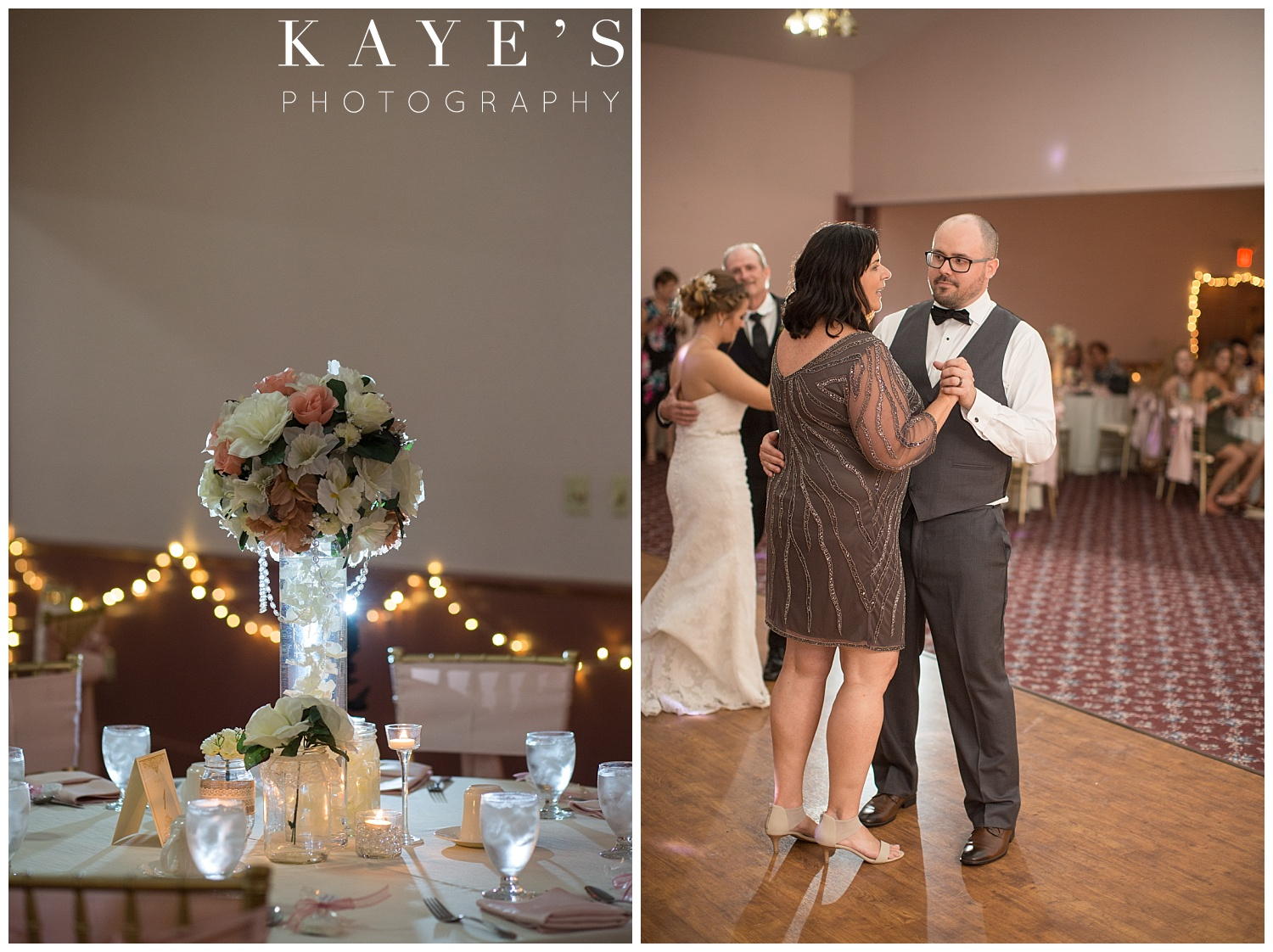 Bride and groom dancing with their parents during wedding at crossroads village!