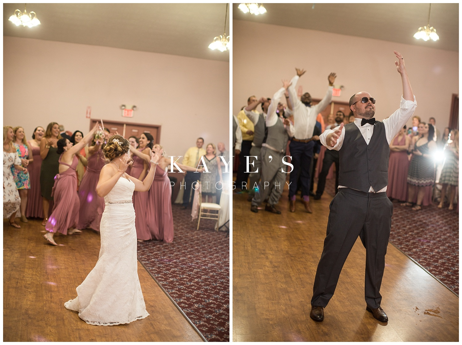 Bride tossing bouquet and groom tossing garter at wedding reception at crossroads village!!