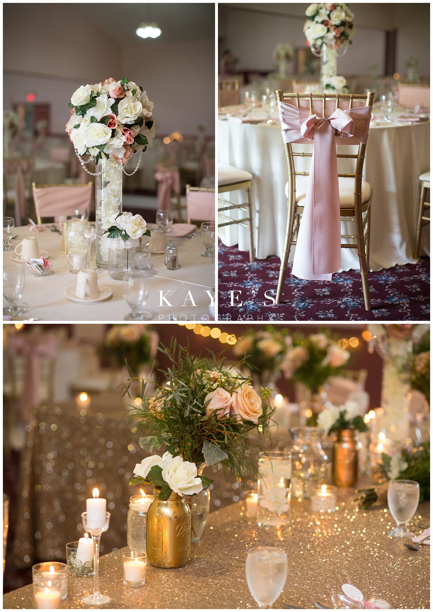 Stunning reception details with tall centerpieces and gold touches everywhere at crossroads village!!