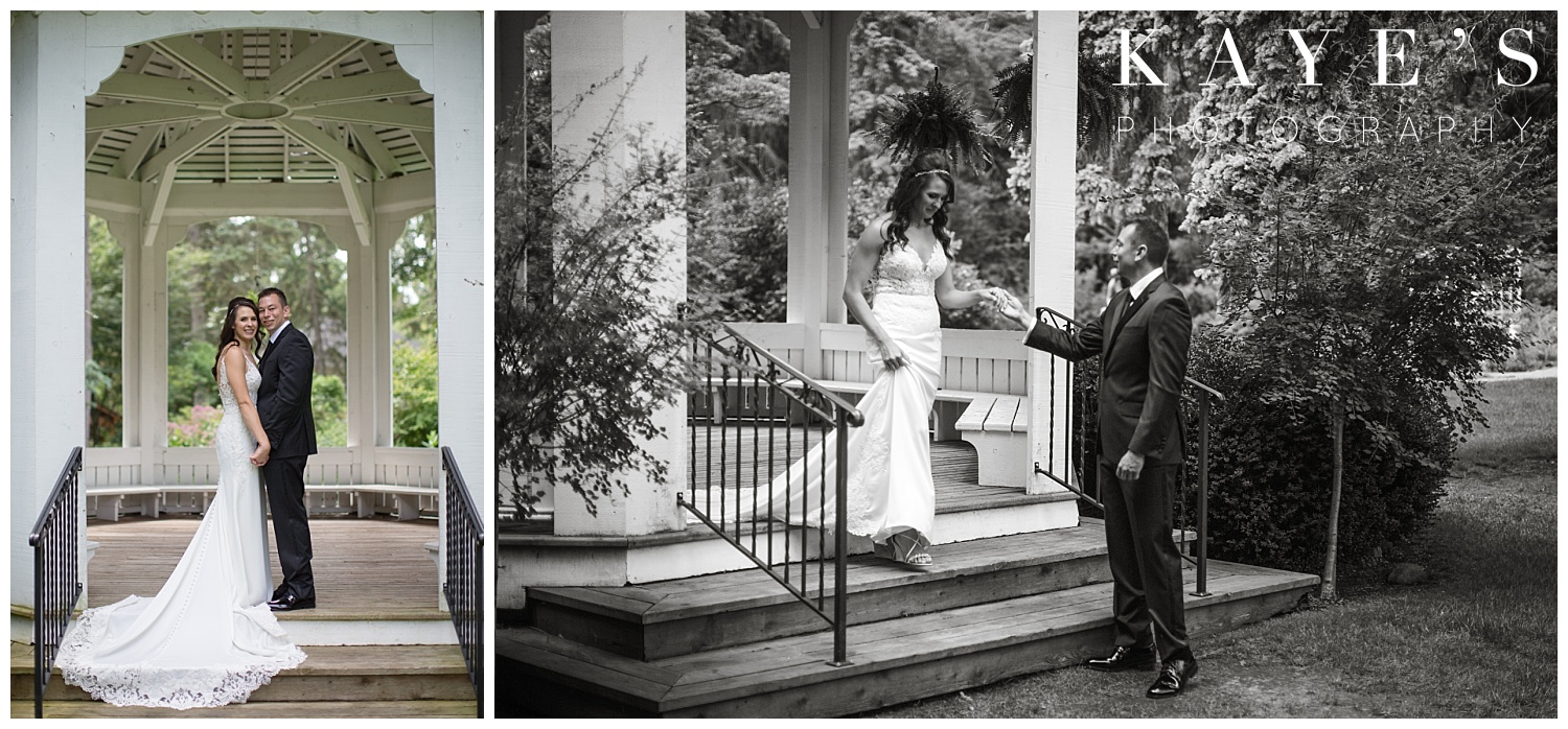 bride and groom portraits at the governors museum before wedding with kaye's photography