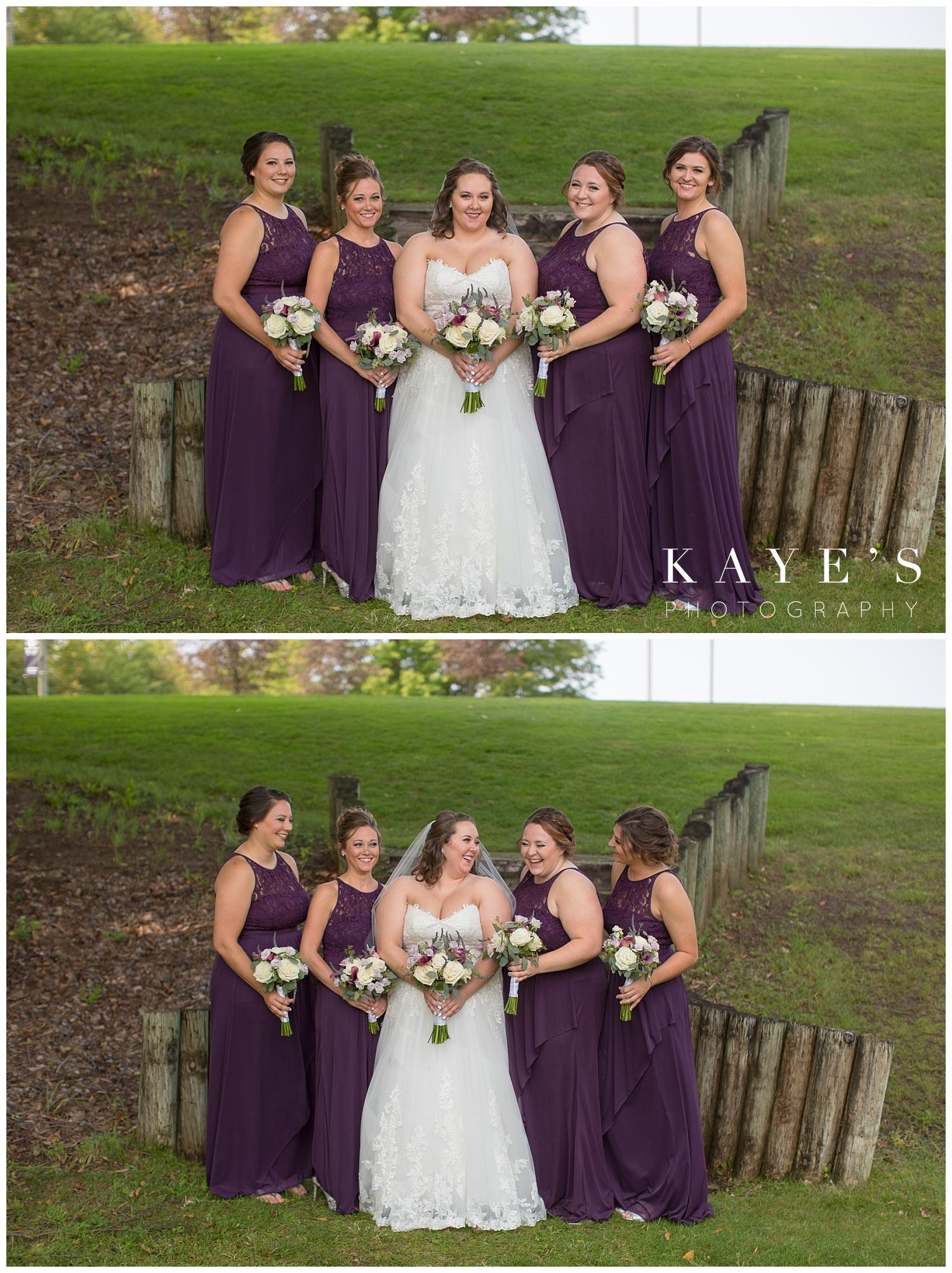 bride with bridesmaids before wedding in michigan wedding
