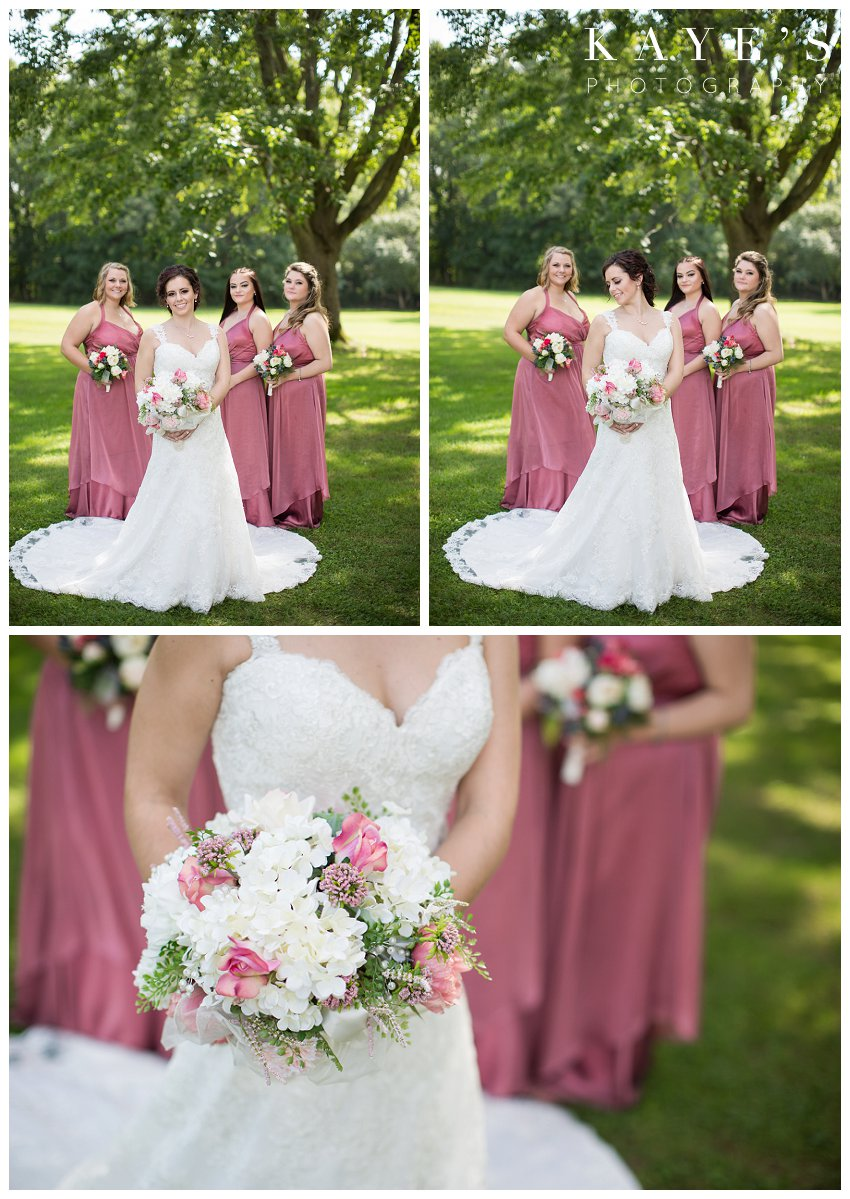 Bride posing with bridesmaids for professional wedding photographer at Flushing Valley Golf Club in Flushing Mi