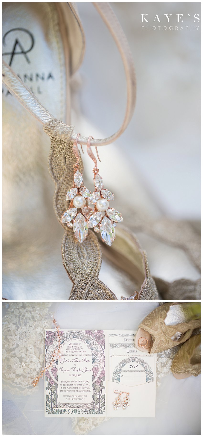 Bride details and shoes for fall wedding in Flint Michigan