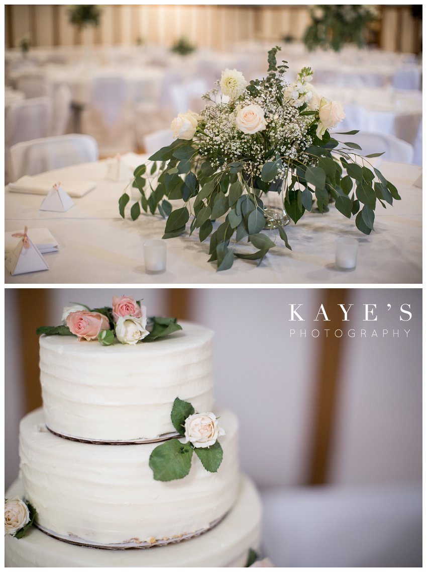 Reception details and cake for fall wedding in Burton michigan